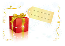 Present and tag. Vector present box with tag for your text Stock Photography