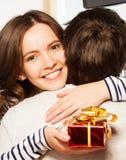 Present to boyfriend Royalty Free Stock Photography