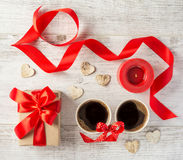 Present to the Valentine`s Day on the table. Top view royalty free stock images