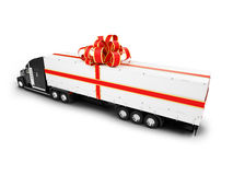 Present truck isolated black-red back view Stock Photos
