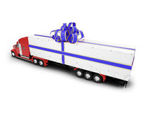 Present truck isolated red-blue back view Royalty Free Stock Photography