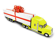 Present truck yellow isolated front view Royalty Free Stock Image