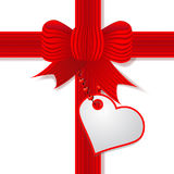 Present Valentine's day with red bow Royalty Free Stock Images