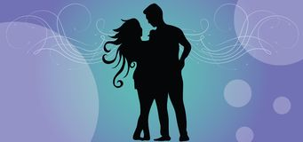 Casual couples on valentine day. We present the vector silhouette on which is painted lovingly loving in the format of the eps. This is a couple of valentine Royalty Free Stock Images