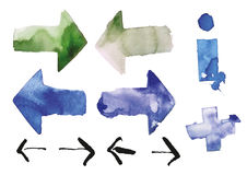 Present. Watercolor set with arrows, info and add icons isolated on white background in eps10 Stock Image