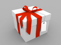 Present. White present box with red ribbon Royalty Free Stock Images