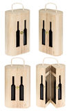 Present wine box. Isolated on white. Clipping pats Stock Photo