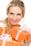 Present woman celebration hold happy Royalty Free Stock Images