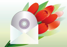 Present for the woman he loves. Music CD in an envelope and a bouquet of red tulips as a gift Stock Photography