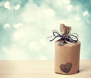 Present wraped in a rustic earthy style Royalty Free Stock Photos
