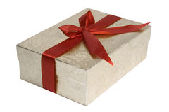 Present wrapped with red bow Stock Photography