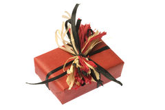 Present Wrapped In Red Paper. Isolated Royalty Free Stock Image