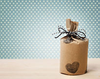 Present wrapped in a rustic earthy style Stock Photos
