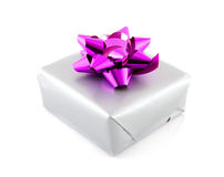 Present wrapped in silver paper and pink ribbon. Over white background Stock Photo