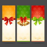 Present Xmas Card with Bow and Bell Set. Vector. Illustration Royalty Free Stock Photo