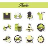 时髦的现代平的贴纸象的一汇集与样式着色的健康生活方式、饮食和健身的 对网, presenta 免版税库存照片
