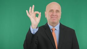 Presentable Manager Smile and Make OK Hand Gestures. In a Interview stock photography