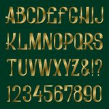 Presentable retro style font. Golden capital letters and numbers. Isolated english alphabet.  Stock Image