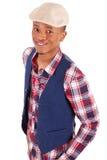 Presentación africana joven casual del hombre Imágenes de archivo libres de regalías