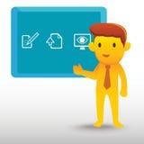 Presentación amarilla del hombre de negocios Imagenes de archivo