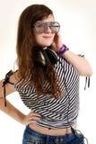 Presentación de DJ de la muchacha de Yound aislada Foto de archivo