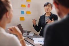 Presentación de donante ejecutiva femenina joven a los colegas imagen de archivo