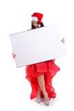 Presentación de la muchacha de la Navidad en el tablero blanco Fotos de archivo libres de regalías
