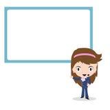 Presentación de la mujer de negocios delante de la pantalla grande en el fondo blanco, ejemplo del vector en diseño plano ilustración del vector