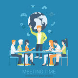 Presentación de la reunión y vector plano del intercambio de ideas infographic Foto de archivo