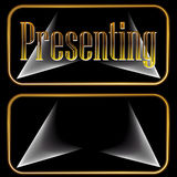 Presentación de los botones del proyector del oro Fotografía de archivo