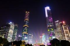 Presentación de luz láser en centro de ciudad de Guangzhou imágenes de archivo libres de regalías