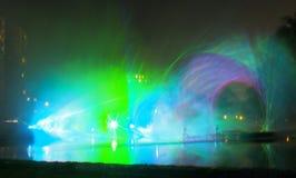 Presentación de luz láser en Lodz Imágenes de archivo libres de regalías
