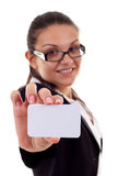 Presentación de una tarjeta de visita Foto de archivo libre de regalías