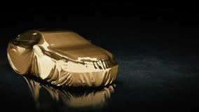 Presentación del coche deportivo del oro Imagenes de archivo