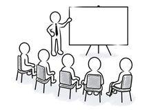 Presentación del negocio: Presidente con el tablero y los espectadores en blanco libre illustration