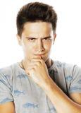 Presentación emocional del hombre hermoso joven de Brunete en el fondo blanco Fotografía de archivo libre de regalías