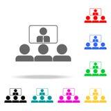 presentación en línea al icono de los colegas Elementos de los iconos coloreados multi del trabajo en equipo Icono superior del d stock de ilustración