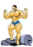 Presentación estupenda muscular del culturista Imagen de archivo