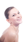 Presentación hermosa atractiva de la mujer joven aislada Fotos de archivo libres de regalías