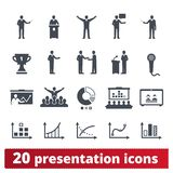 Presentación, hombres de negocios que se encuentran, icono de la conferencia ilustración del vector
