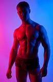 Presentación joven desnuda atractiva mojada fuerte del bodybuilder Imágenes de archivo libres de regalías