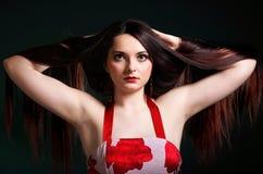 Presentación larga recta del maquillaje del pelo de la mujer Imagen de archivo