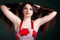Presentación larga recta del maquillaje del pelo de la mujer Foto de archivo libre de regalías