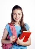 Presentación linda joven del adolescente alegre contra Fotografía de archivo libre de regalías