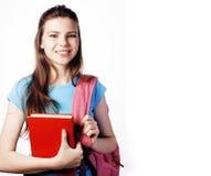 Presentación linda joven del adolescente alegre contra el fondo blanco Imagenes de archivo