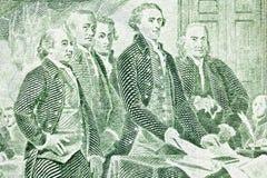 Presentación macra de Bill de dólar dos de la declaración de Foto de archivo