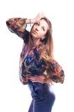 Presentación modelo de la chica joven hermosa aislada Imágenes de archivo libres de regalías