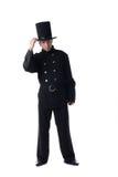 Presentación modelo masculina en el traje del barrido de chimenea Foto de archivo libre de regalías