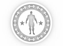 Presentación muscular del hombre Escudo de armas del levantamiento de pesas Fotos de archivo libres de regalías