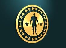 Presentación muscular del hombre Escudo de armas del levantamiento de pesas Fotografía de archivo libre de regalías